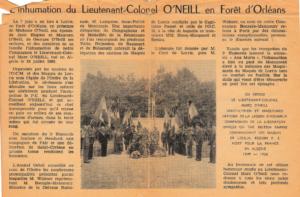 L'inhumation du Lt Colonel O'NEILL en forêt d'Orléans