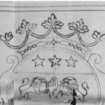 Variante de couronne à cinq fleurons de feuilles de fraisier timbrant les armoiries d'Eugène O'Neill, lieutenant-colonel au régiment irlandais de Lée