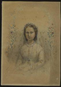 Gabrielle Noury lors de son mariage (1865)