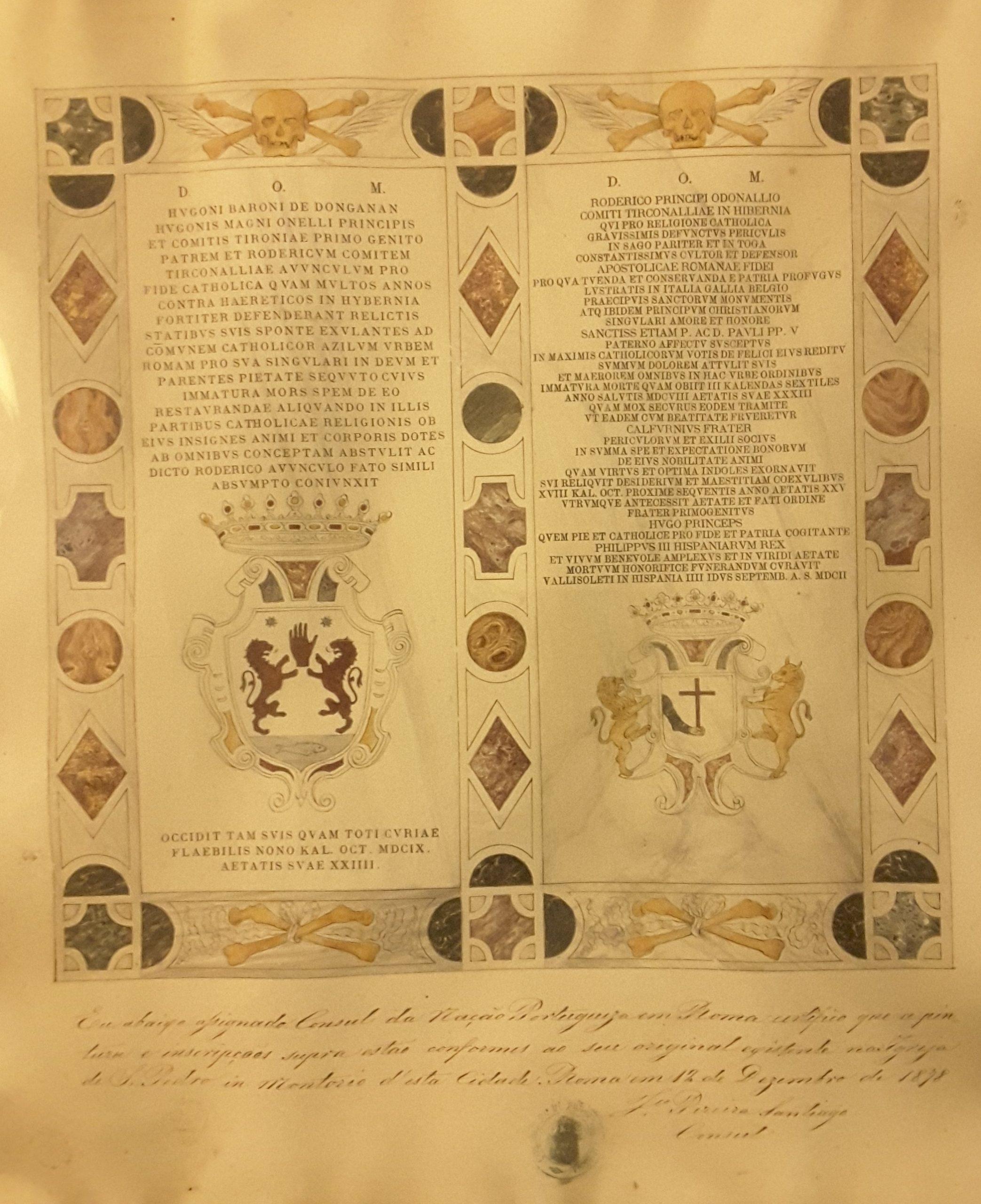 Copie enluminée des stèles des princes Hugues O'Neill baron de Dungannon et Hugues O'Donnell comte de Tyrconnell - San Pietro di Montorio, Rome (Don de Hugo O'Neill).