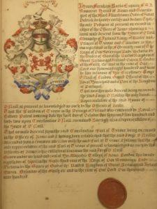 Armoiries officielles adressées par le roi d'armes d'Irlande à Jorge, grand-père d'Hugo mac Uí Néill Buidhe, le chef des O'Neill de Clandeboye